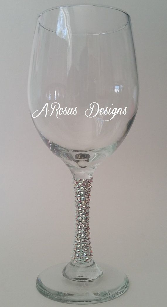 575f138038d Swarovski Crystal wine glass bling wine glass by TheBlingBosses ...