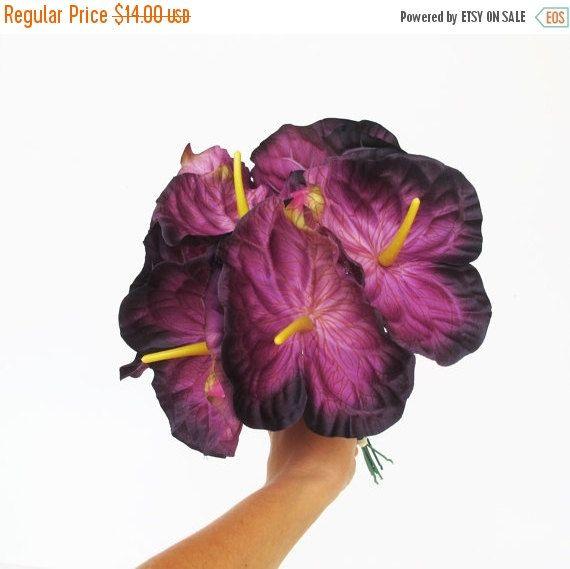 On Sale 11 Purple Silk Anthurium Jumbo Artificial By Flowersfield Anthurium Flower Artificial Flowers Silk Flowers