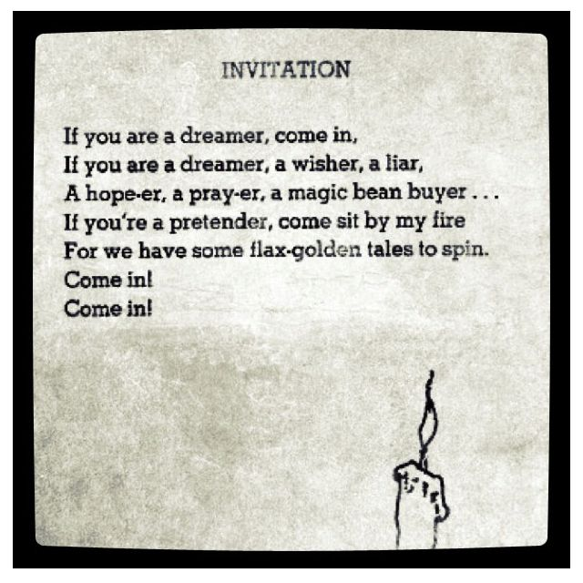 Invitation by Shel Silverstein my favorite poem and this is giving