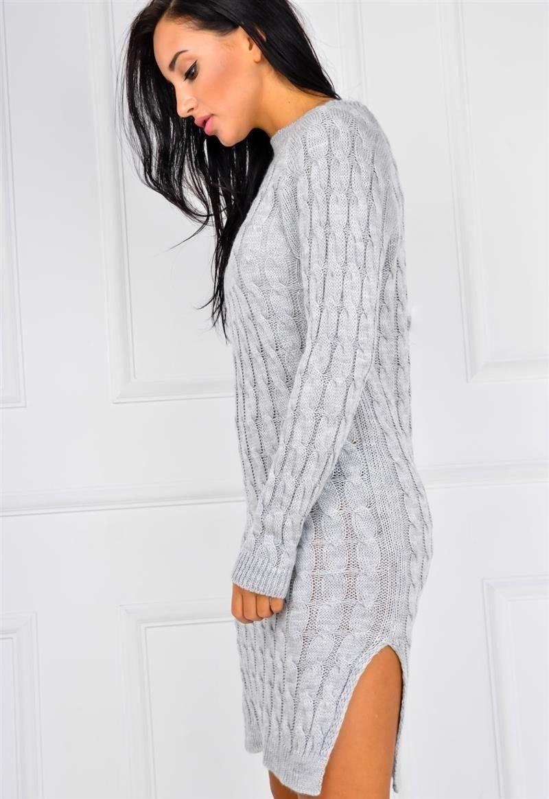 aa608d15cc740a Długi sweter tunika splot w warkocze rozcięcia, Ona Odzież Swetry   Sukienki .shop