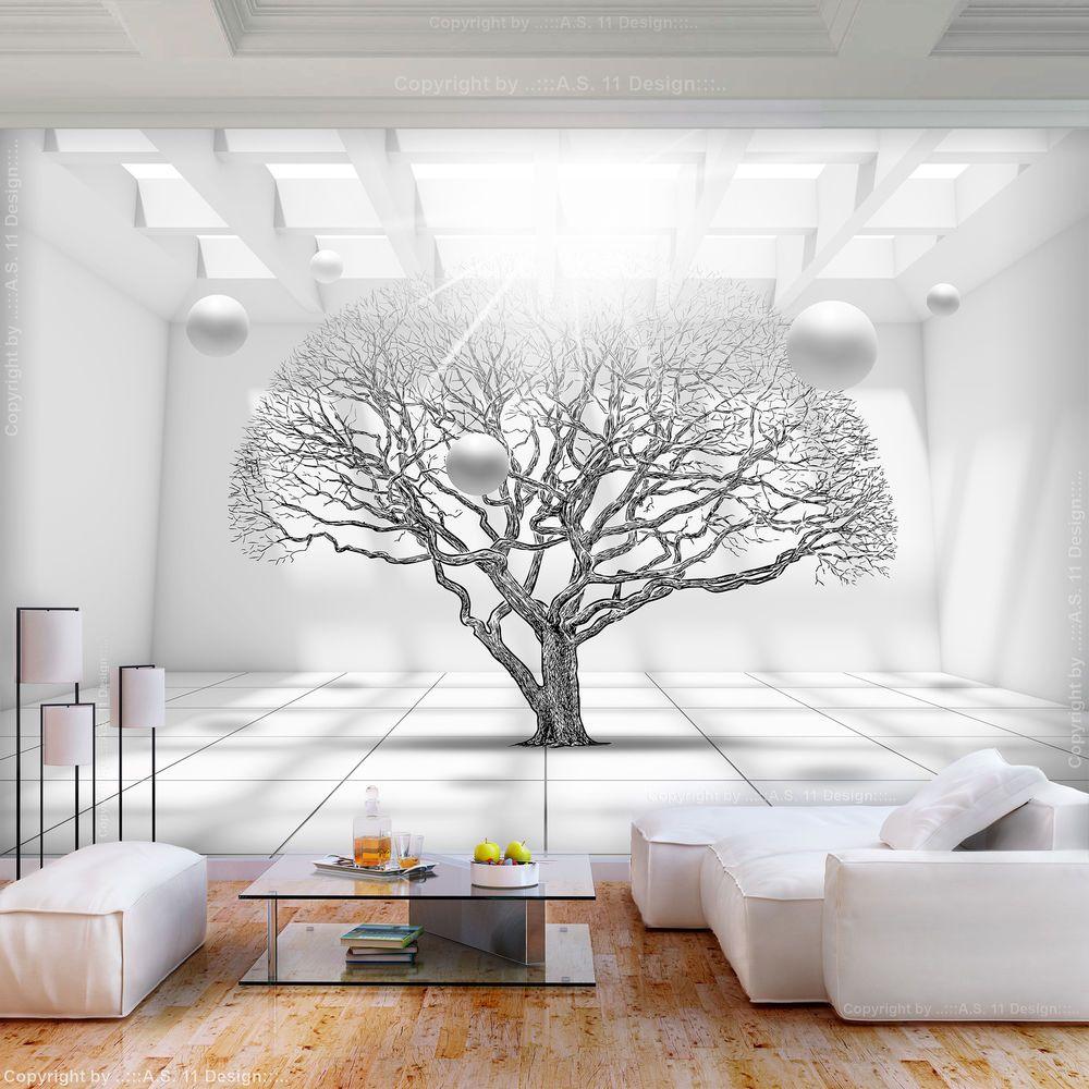 VLIES FOTOTAPETE Baum 3D Optik Kugeln weiß TAPETE Wohnzimmer ...