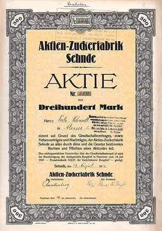 Aktien-Zuckerfabrik Sehnde / Aktie (Ersatzaktie) 300 Mark 17.8.1942.