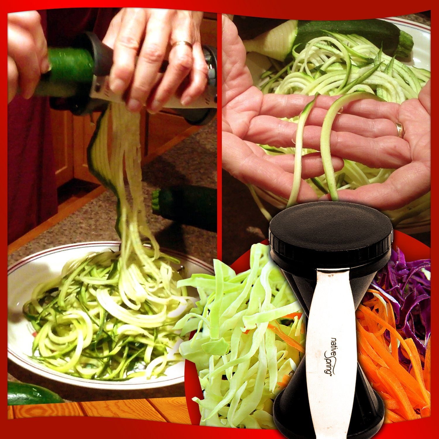 Spiral vegetable slicer hand held with cleaning brush zucchini and - Amazon Com Spiral Vegetable Slicer Hand Held With Cleaning Brush Zucchini And