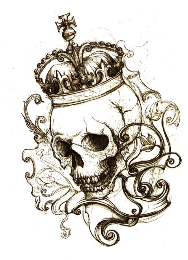 """""""No place.""""  by ~Monochrome-Clown -  Traditional Art / Drawings / Macabre & Horror (skull crown tattoo)"""