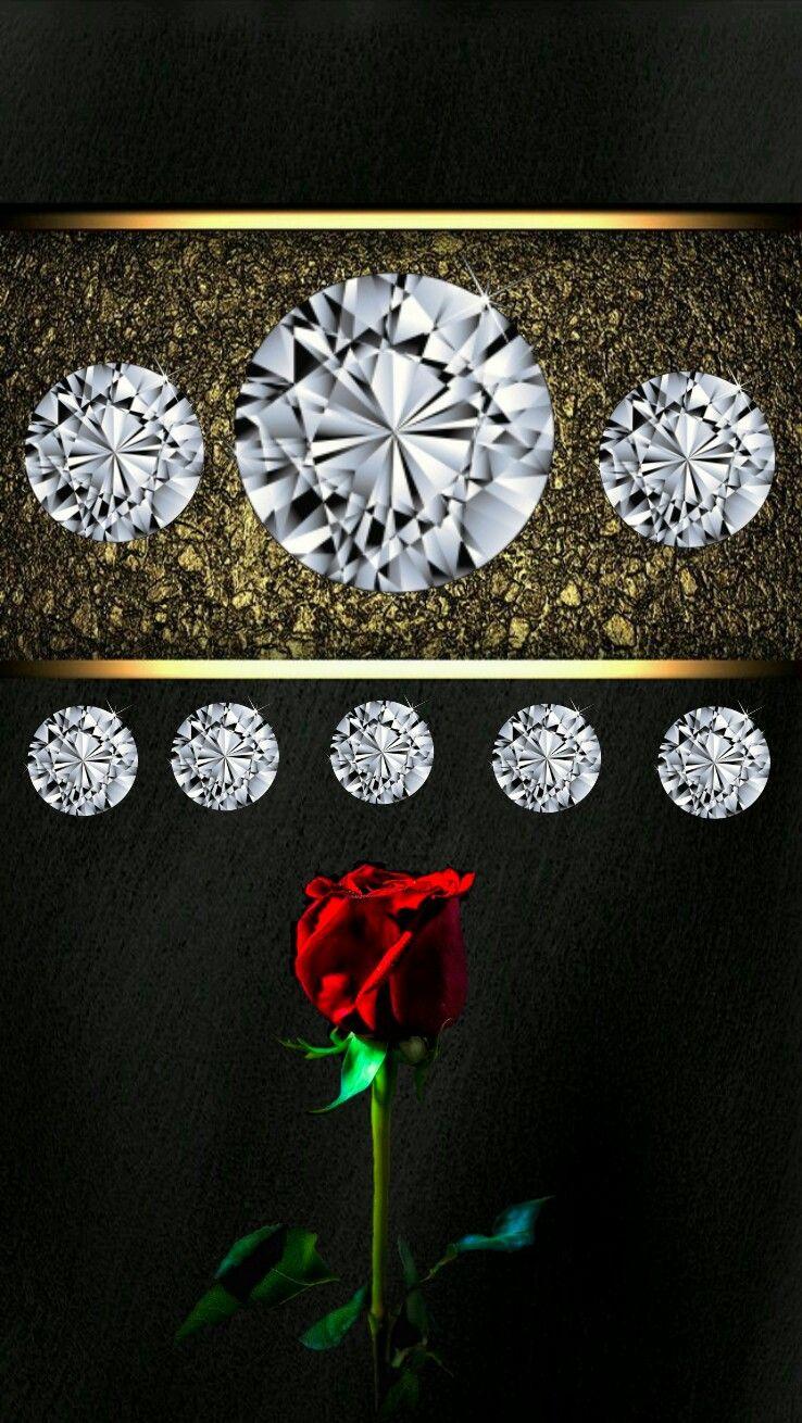 Regal Elegant Diamond Gold Rose Dark Iphone Wallpaper Diamond