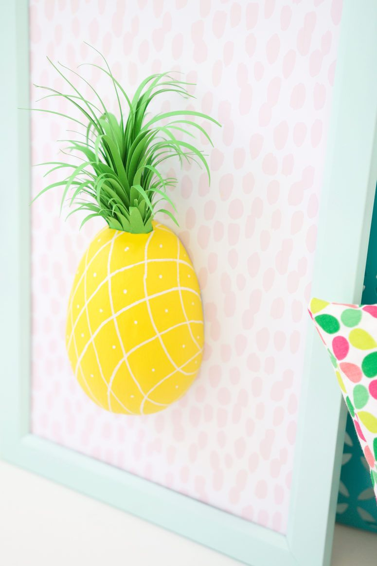 DIY paper mache pineapple wall art in a frame | Project Ideas: Paper ...