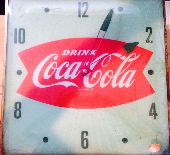 cd66a8b27beb2 1950s vintage Coca Cola Fish Tail electric clock by CraftITliCious ...