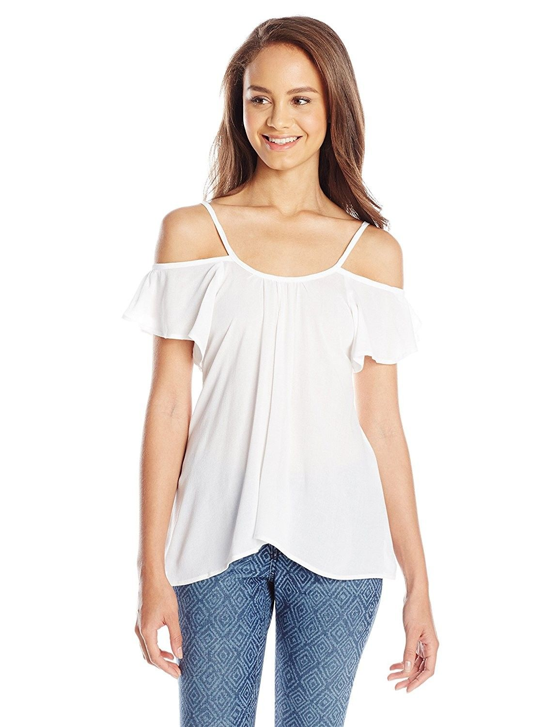 f7114caf7d Juniors  Hollie Short-Sleeve Cold-Shoulder Top - Soft White ...