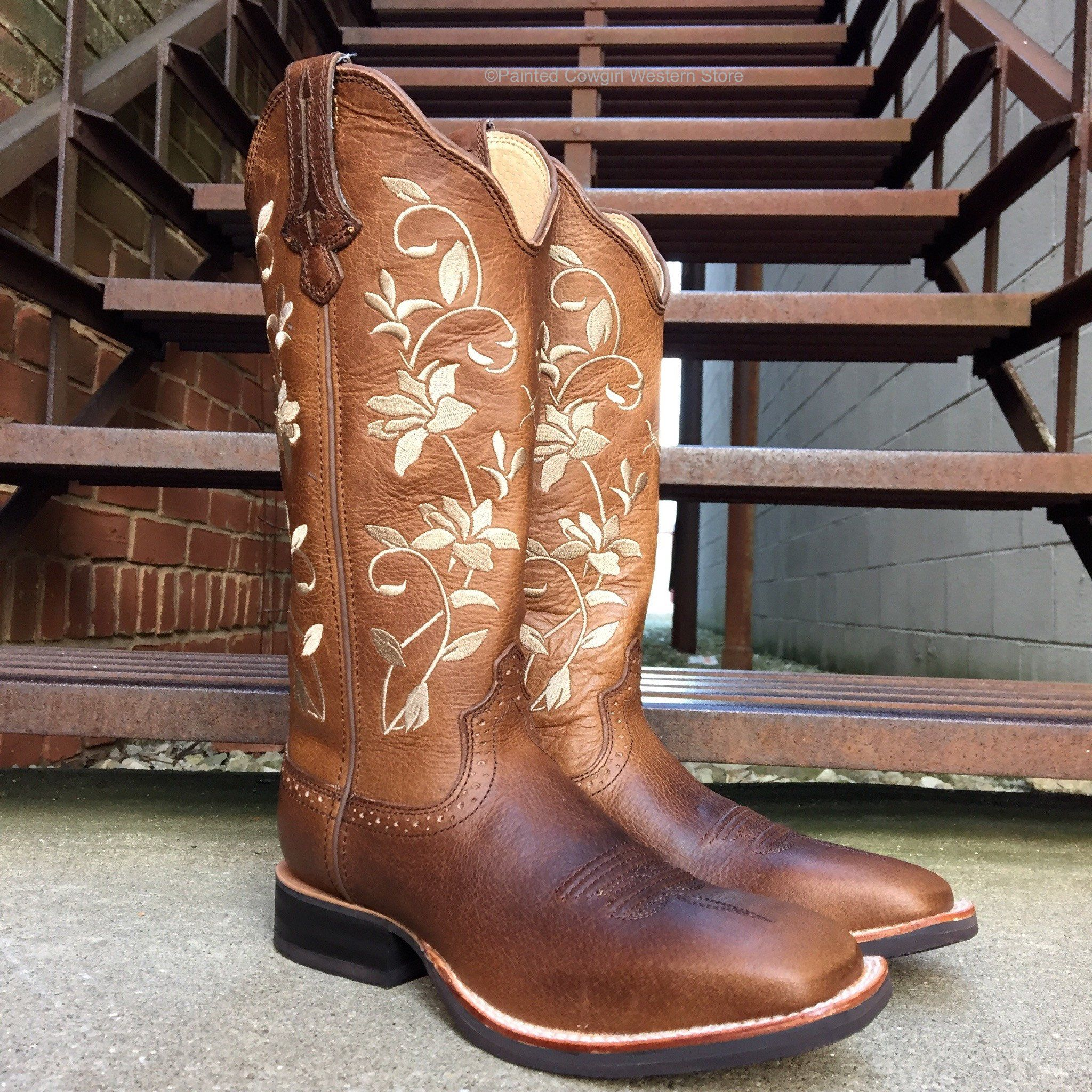 07bd0583f05 Twisted X Women's Floral Ruff Stock Square Toe Cowgirl Boot WRS0025 ...