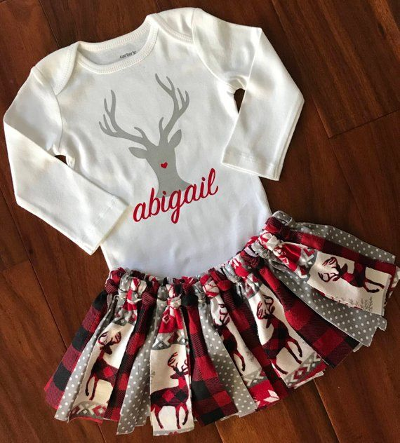Baby Girl 1st Christmas Outfit - Baby Girl Deer Christmas Tutu - My