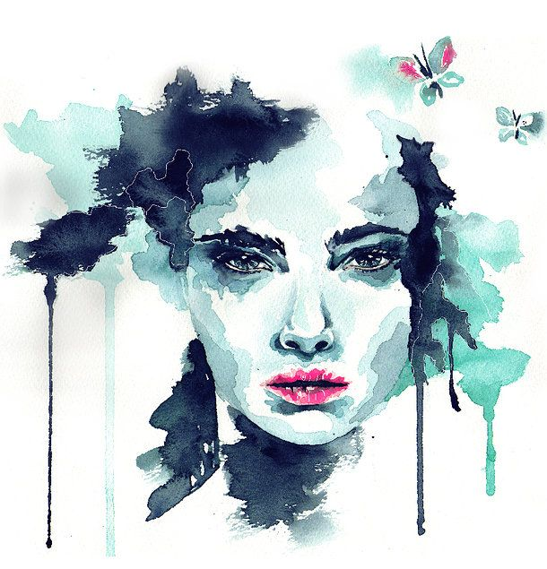 Water Color Painted Face Cara Delevingne C Annetweelink Www