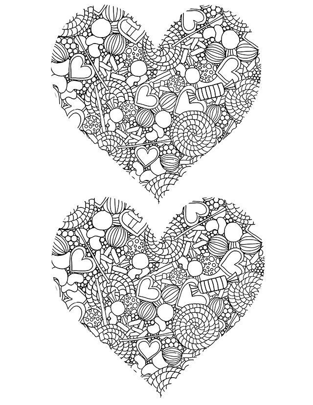 Candy Hearts Coloring Page by Alisa Burke - (alisaburke.blogspot ...
