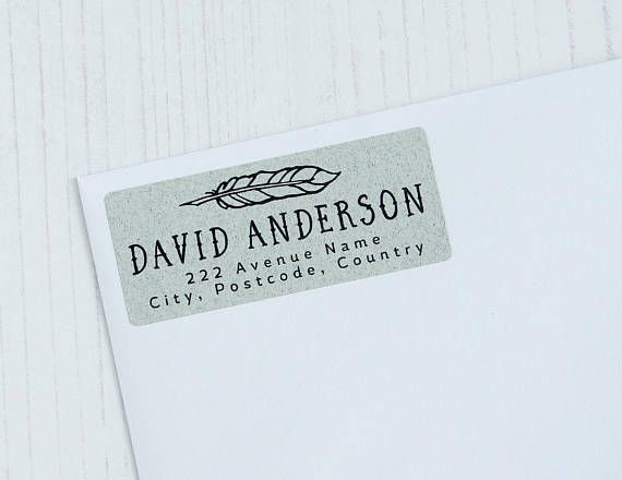 custom return address labels feather quill pen personalized textured