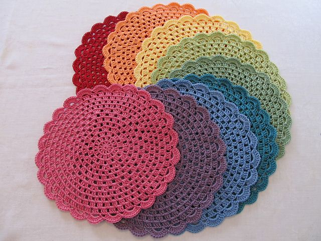 crocheted placemats...love the different colors