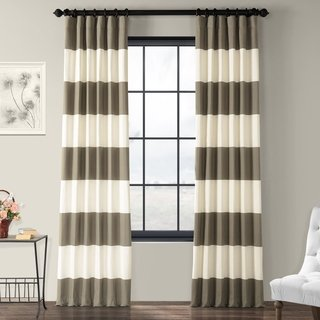 Exclusive Fabrics Cabana Cotton Horizontal Stripe 120 Inch Curtain