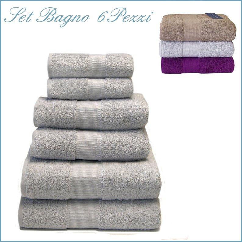 soft set asciugamani bagno 6 pezzi spugna di puro cotone