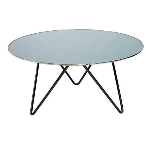 Table Basse En Verre Trempe Effet Miroir Et Metal Noir Table Glass Coffee Table Folding Table