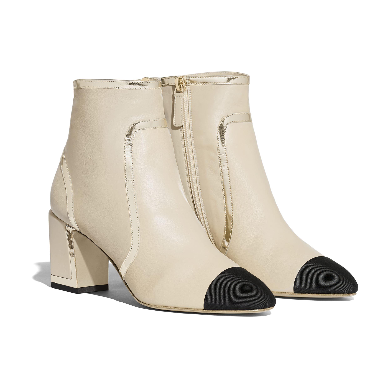 Ankle Boots - Beige \u0026 Black - Laminated