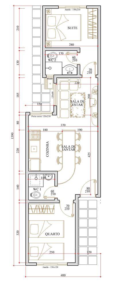 Muitas vezes Planta de casa com 5 metros de frente … | Pinteres… YW41