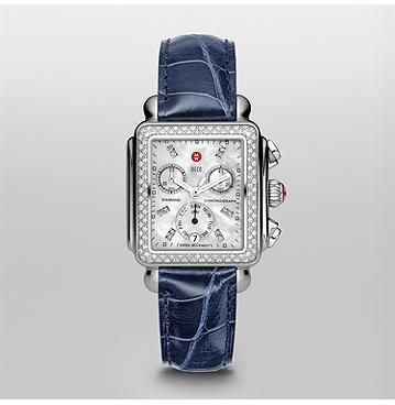 de4a64a40 Signature Deco Diamond Bezel Watch with Diamond Dial and Navy Alligator  Strap MWW06P000196 | MICHELE® Ladies Watch