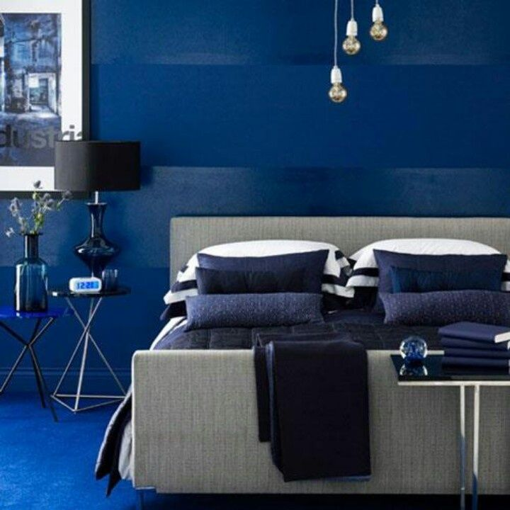 Masculine monochromatic bedroom in shades of royal blue. #bedrooms ...