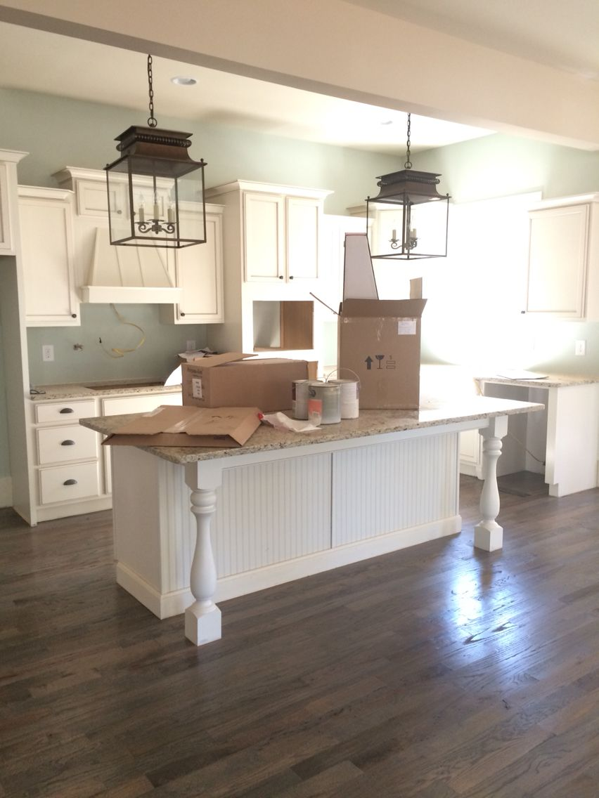 Red oak floors lightly sanded, wiped with alcohol, stained with ...