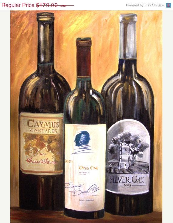 #Wine bottles Opus one #Caymus and Silver by SherisArtStudio,