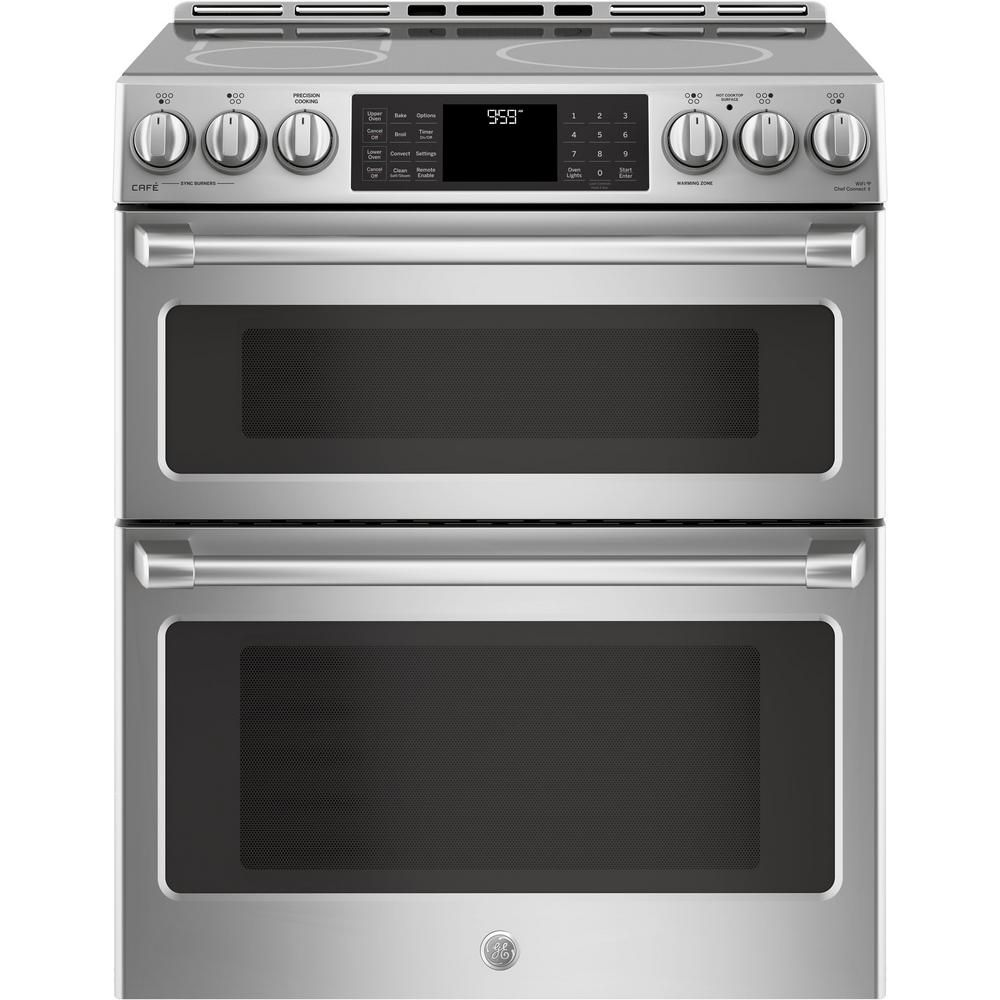 Slide In Double Oven Electric Range With Self Cleaning True European Convection Stainless Steel Silver Gray