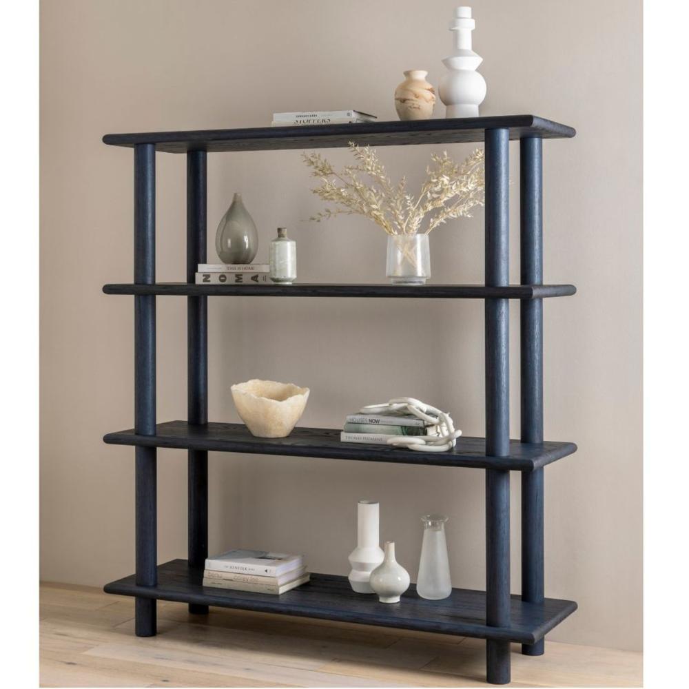 Mattia Washed Indigo Oak Wood Bookshelf 63 In 2020 Wood Bookshelves Asian Furniture Bookshelves