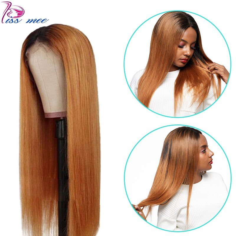 Kiss mee 1B/30 Ombre Color Human Hair Wig Straight Lace
