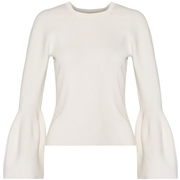 Jonathan SimkhaiSignature Ribbed-knit Sweater (£290) via Polyvore featuring tops, sweaters and white