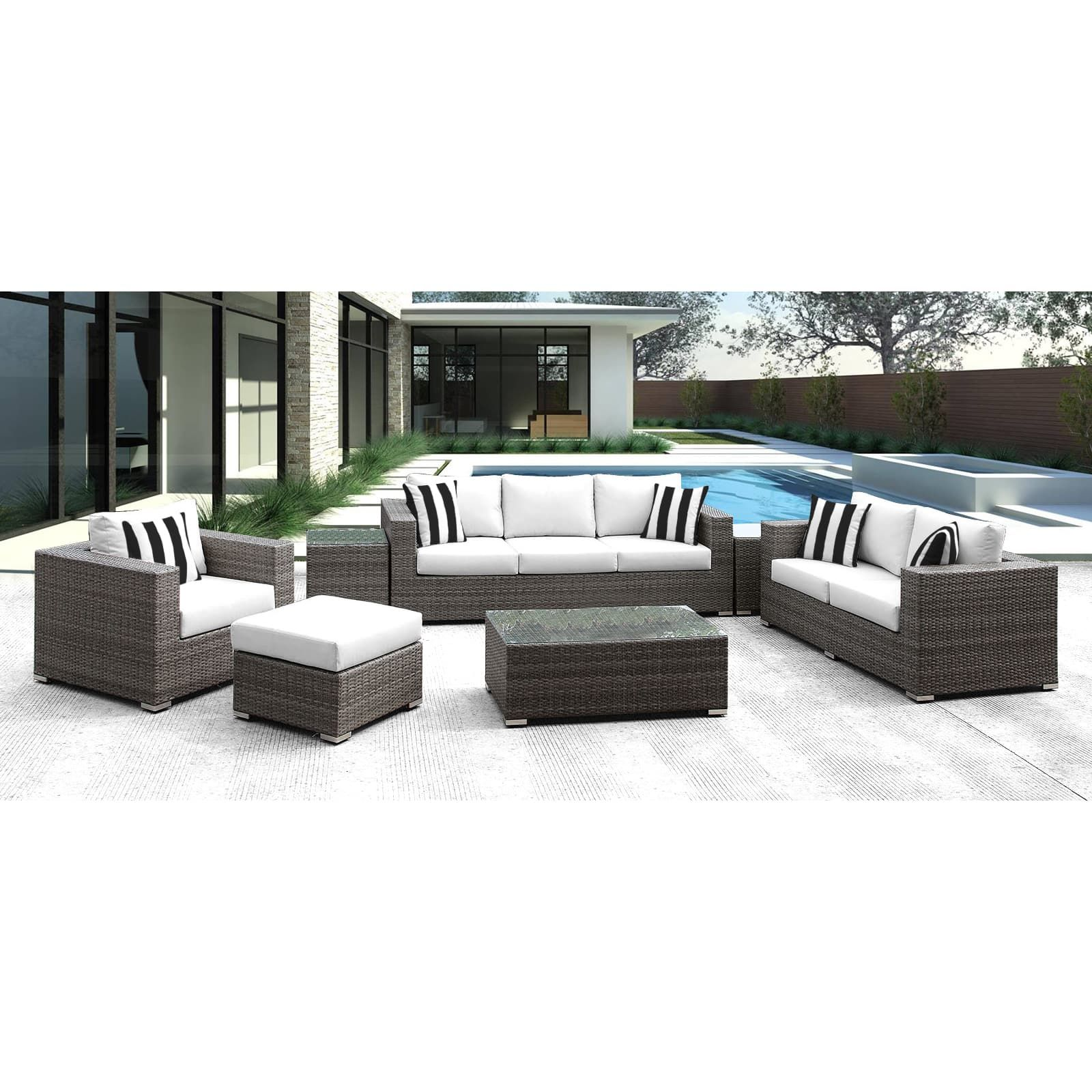 Solis lusso piece outdoor sofa grey wicker rattan with white
