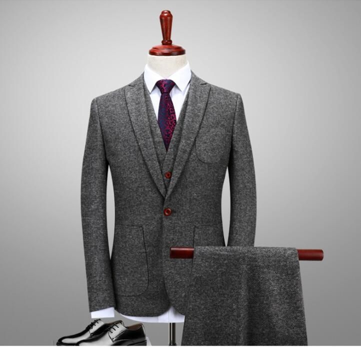 2017 Latest Coat Pant Designs Winter Smoking Grey Tweed Men Suit