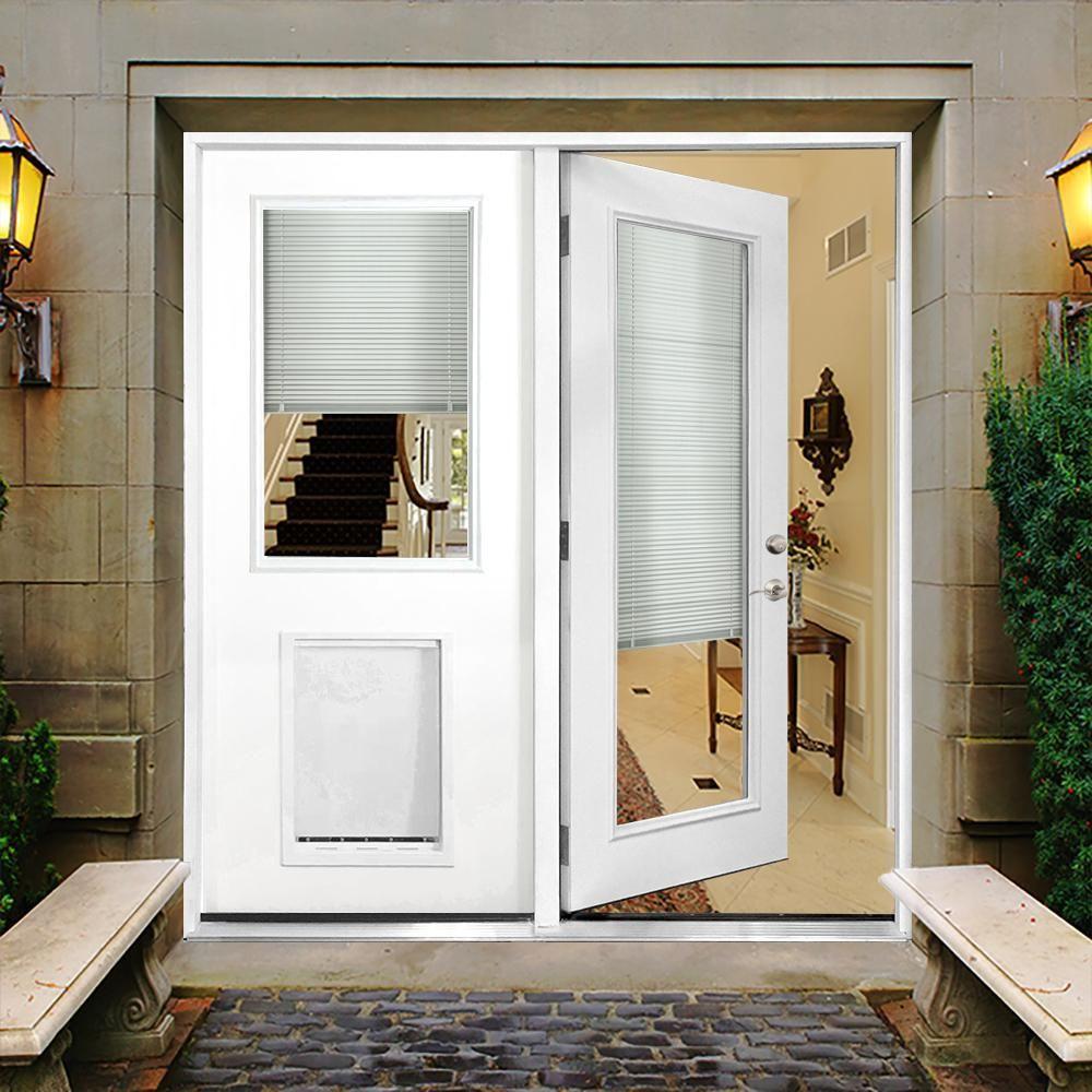 e4c8088f644 Steves and Sons 72 in. x 80 in. Mini-Blind Primed White Prehung Left-Hand  Inswing Fiberglass Center Hinge Patio Door with SL Pet Door