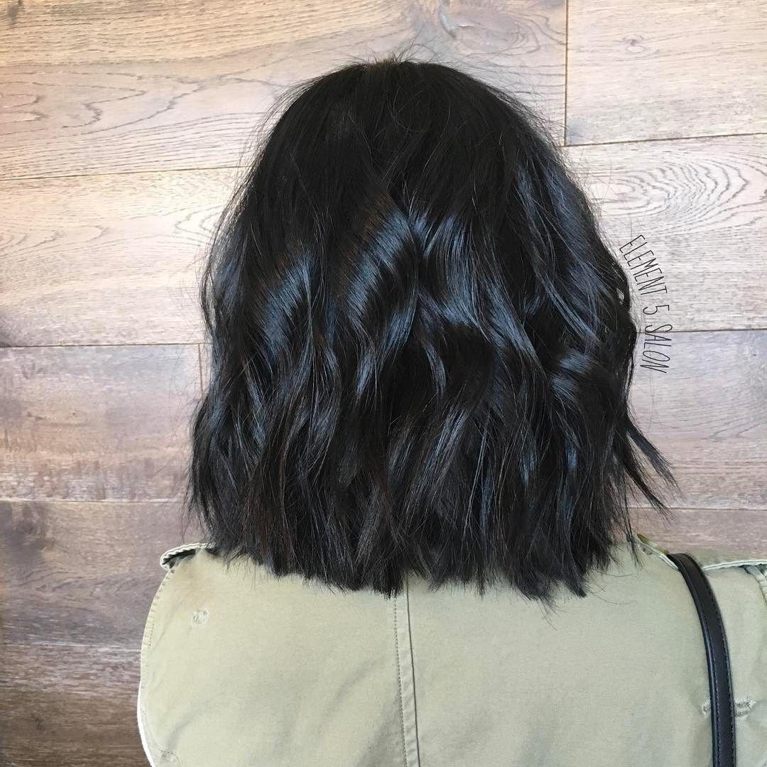 Shiny Black Wavy Lob Black Wavy Hair Wavy Lob