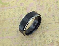 Two-Tone Zirconium Ring with Black Hammered Center   Flickr - Photo Sharing! @  http://www.Unique-Titanium-Wedding-Rings.com