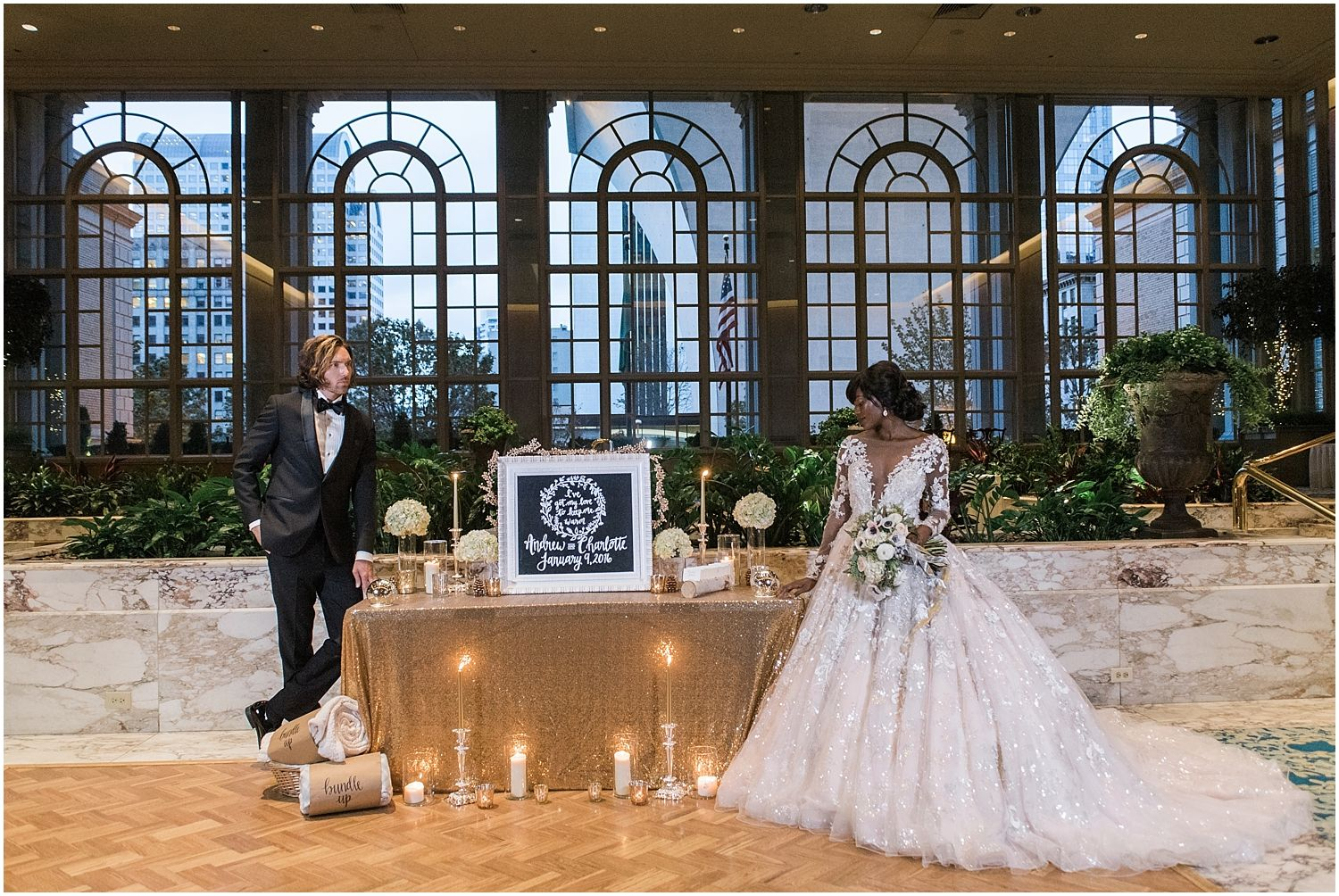 opulent winter garden wedding at the fairmont olympic hotel
