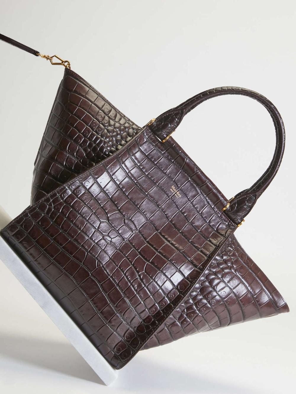 Crocodile Print Leather Tote Aubergine