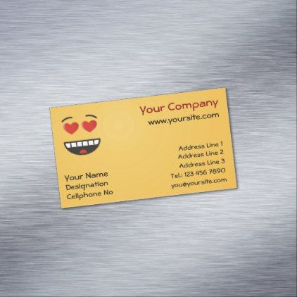 Smiling face with heart shaped eyes magnetic business card smiling face with heart shaped eyes magnetic business card love gifts cyo personalize diy colourmoves