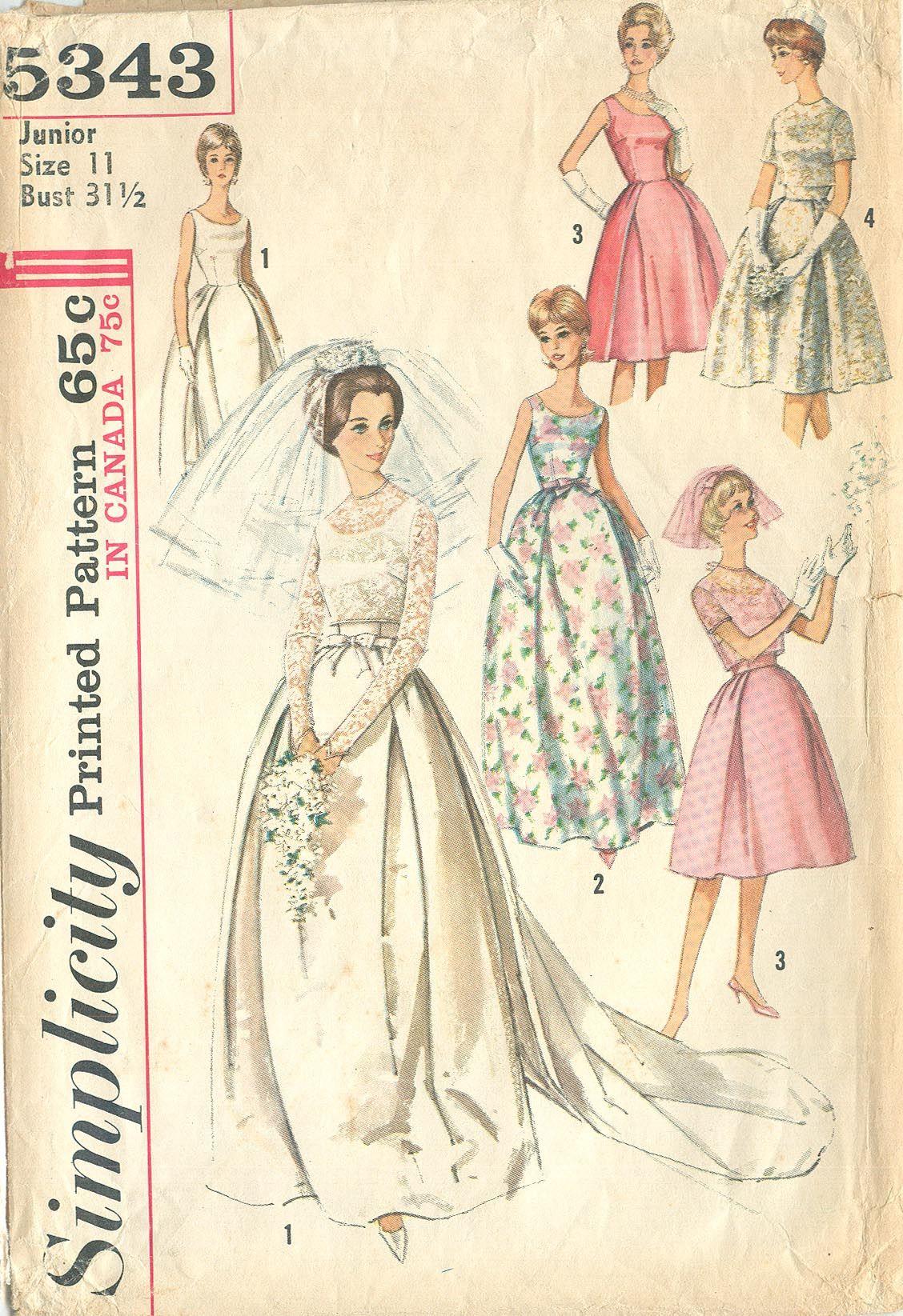 c437a1d65 Simplicity 5343 Vintage 1963 Mad Men Wedding Gown with Detachable Train B31  1/2