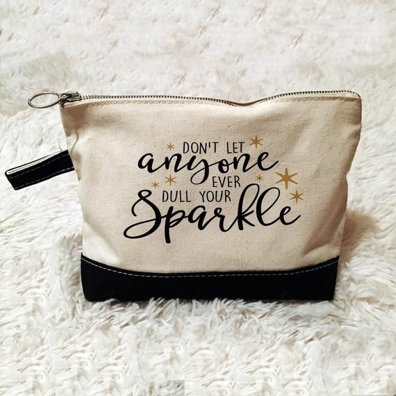 Inspirational Cosmetic Bag  Zipper Pouch  Pencil Case  Gold Sparkle - Canvas makeup bag, Makeup bag quote, Personalized cosmetic bags, Funny makeup bag, Costmetic bag, Diy makeup bag - Designer of Joyful Moose Gift Products