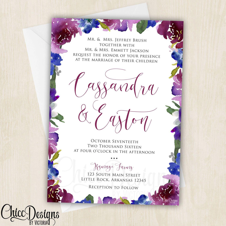 Radiant Elegant Watercolor Wedding Invitation - Magenta, Purple, Navy Blue - Classical Wedding Invite - Digital/Printable Design - pinned by pin4etsy.com