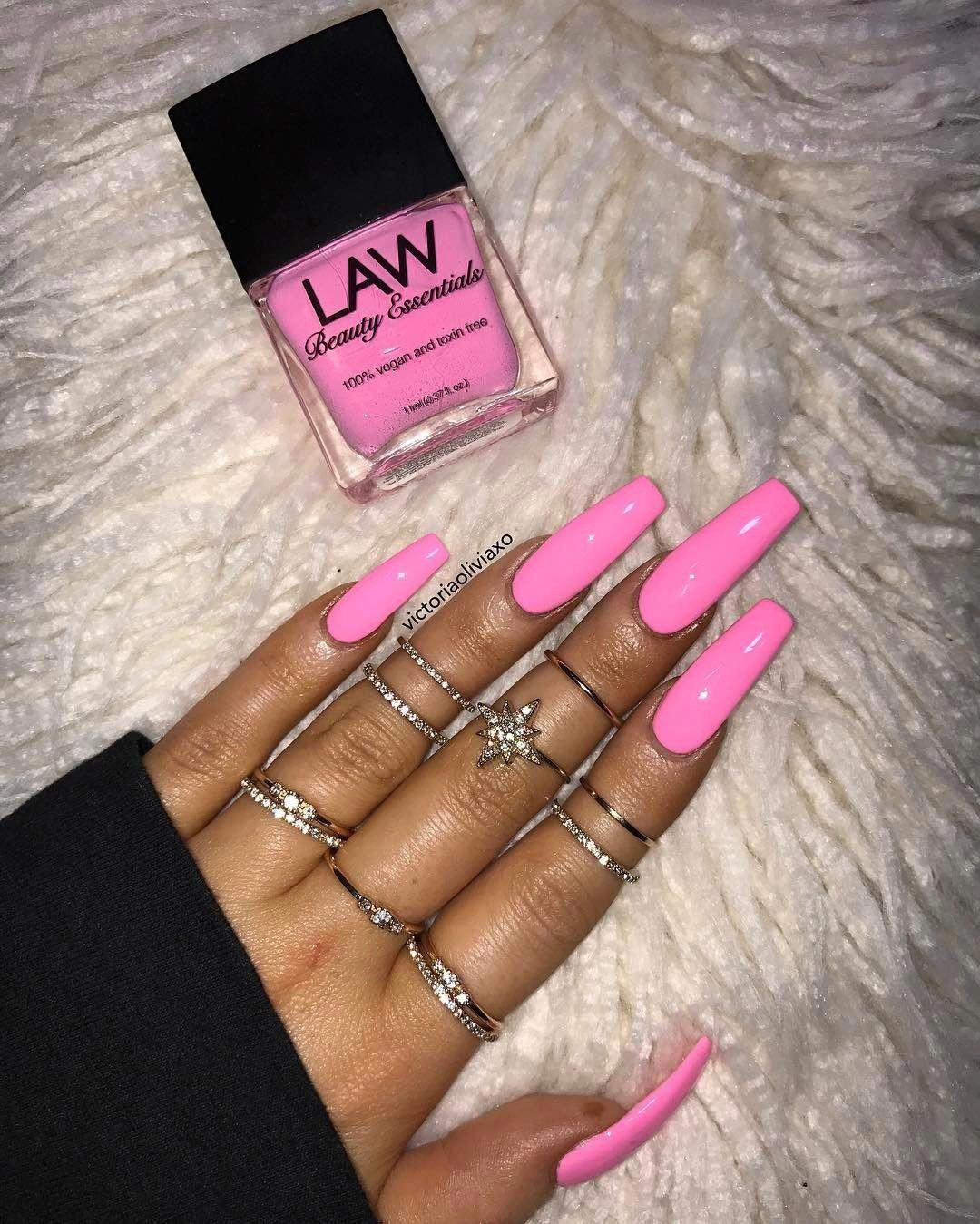 Long Acrylic Nails Which Look Beautiful Longacrylicnails Pink Acrylic Nails Bright Pink Nails Long Square Acrylic Nails