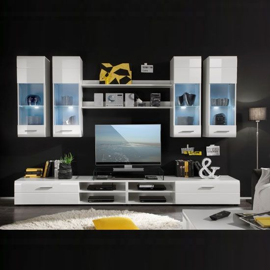 Living Room Furniture White Gloss shot living room furniture set in white gloss with led light