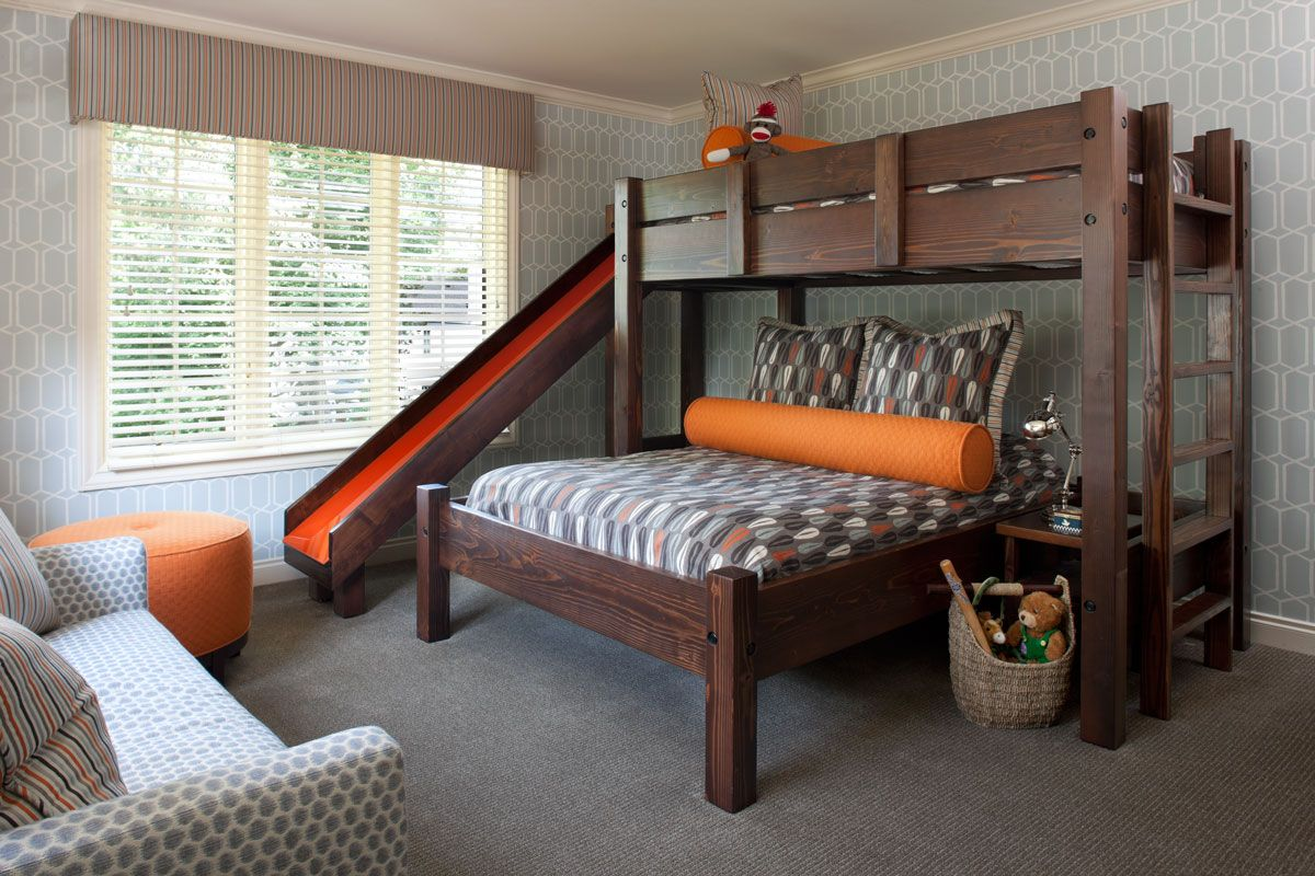 King size loft bed with stairs  Asmar Interiors  Lakehouse  Pinterest  Interiors Room and Bunk bed