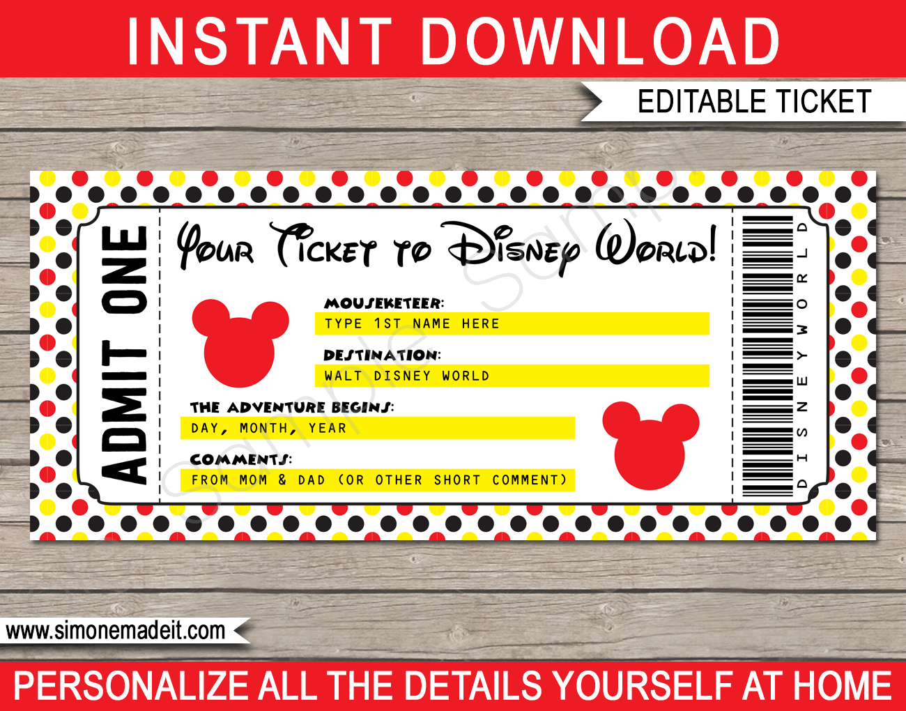 Printable Ticket To Disney World Template