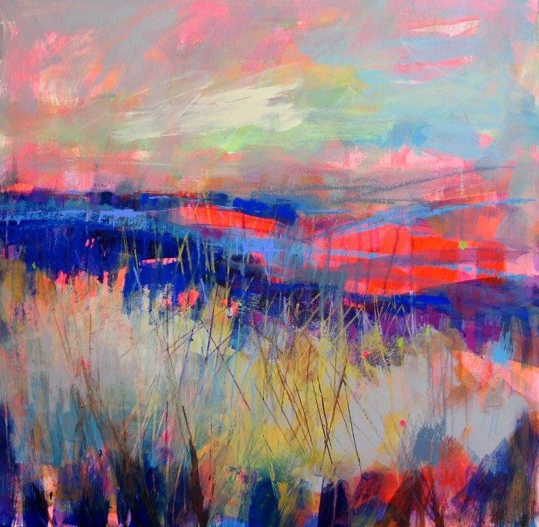 Soraya french 39 distant poppy fields 39 mixed media for Pretty abstract paintings
