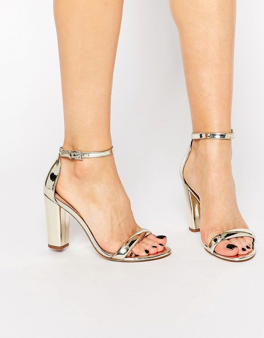 Aldo Cicci Gold Block Mid Heel Sandals At Asos Com Sandals Heels Heels Shoes Women Heels