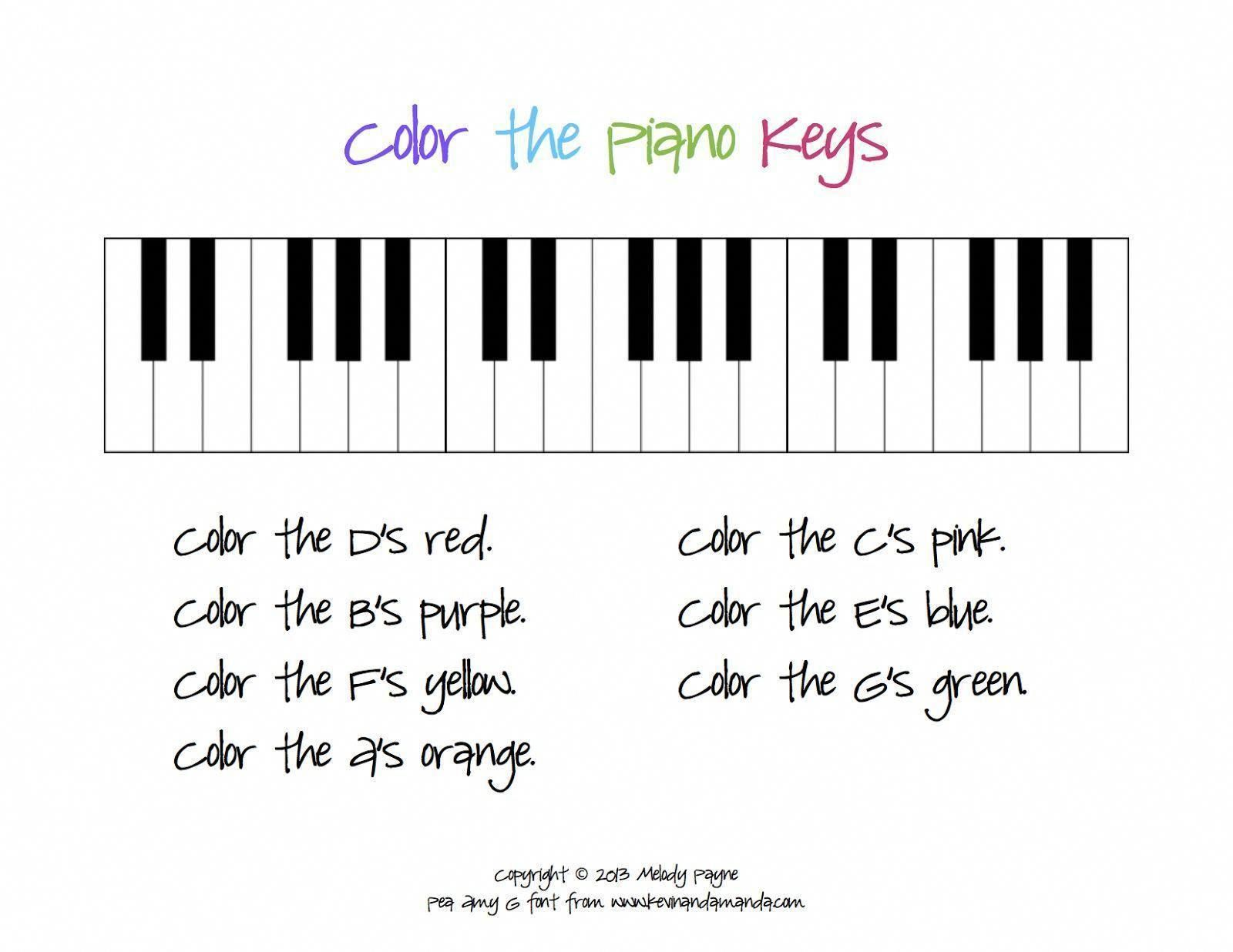 Color The Piano Keys Sheet From The Plucky Pianista