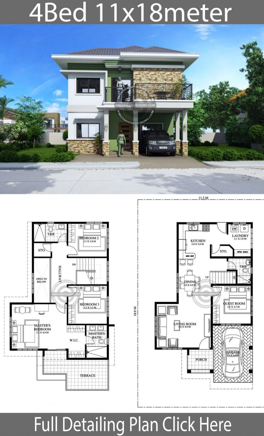 Plan De Design De Maison 11x18m Avec 4 Chambres In 2020 Home Design Plan Bungalow House Design House Design